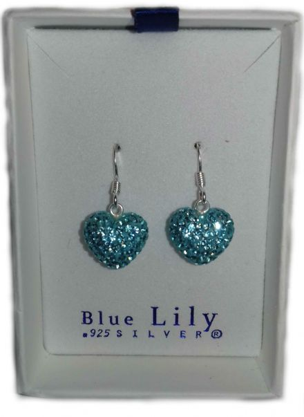 Aqua Heart Blue Cubic Zirconia Sterling Silver Earrings